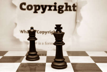 plagiarism: Copyright and chess concept Stock Photo