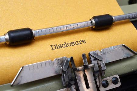 disclosure: Disclosure text on typewriter Stock Photo