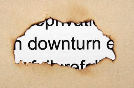 Downturn text on paper hole photo