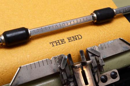 typewriter key: The end text on typewriter Stock Photo