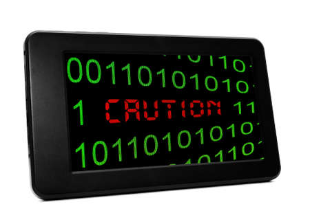 Caution PC tablet Stock Photo - 20847117