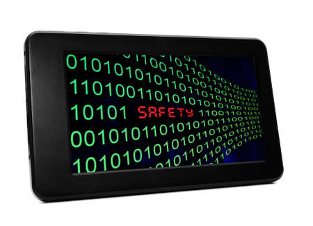 Safety text on pc tablet Stock Photo - 20847202