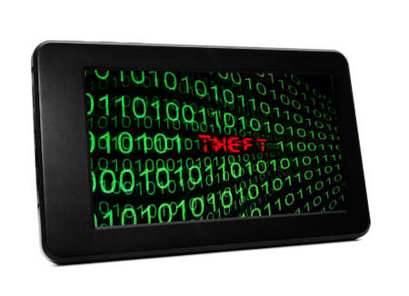 spying: Theft text on pc tablet Stock Photo