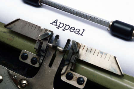 appeals: Appeal text on typewriter Stock Photo
