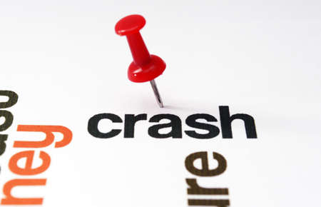 Push pin on Crash  text Stock Photo - 21047083