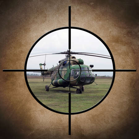 desert storm: Target on helicopter Stock Photo