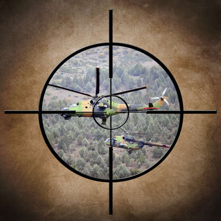hellfire: Target on helicopter Stock Photo