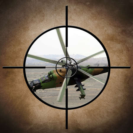 hellfire: Military target on helicopter Stock Photo