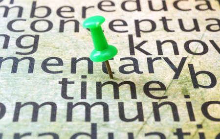 pinning: Push pin on time word cloud Stock Photo