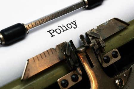 タイプライターのポリシー 写真素材