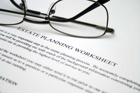 estate planning: Estate planning worksheet Stock Photo