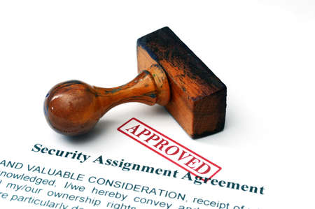 assignment: Security assignment agreement Stock Photo