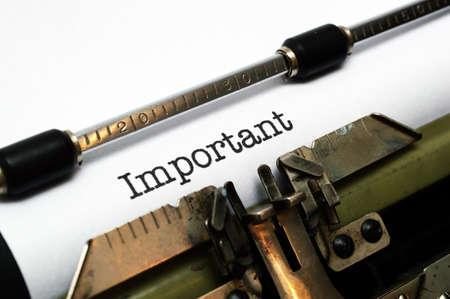 instigator: Important text on typewriter