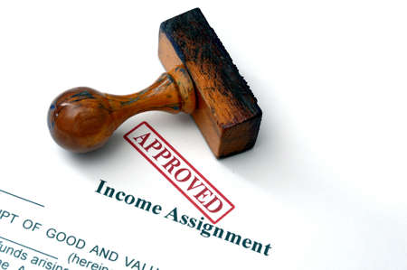 assignment: Income assignment Stock Photo