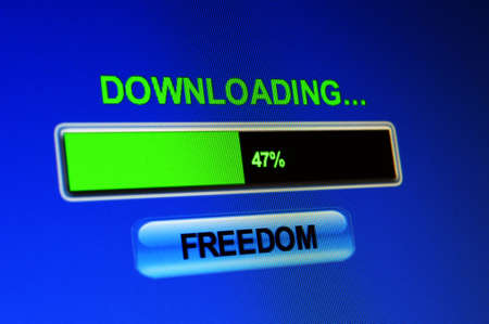 screen showing progress of freedom download photo