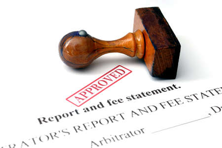 honorarios: Informe y la cuota de la declaraci?n Foto de archivo