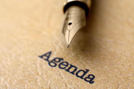meet up: Agenda Stock Photo