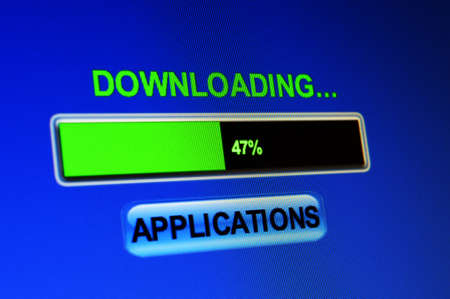satined: Downloading applications Stock Photo