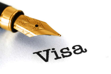 Visa text and fountain pen Stockfoto