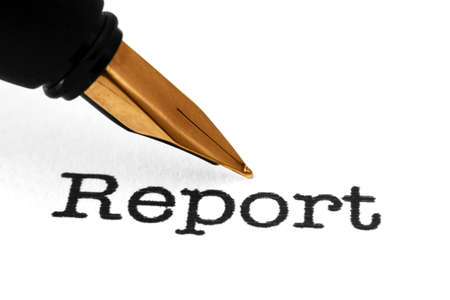 credit report: Fountain pen on report Stock Photo