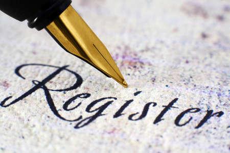 Fountain pen on register text photo