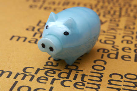 Piggy bank on credit application concept photo