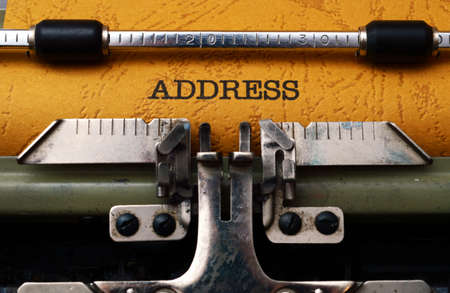 Address text on typewriter Stock Photo