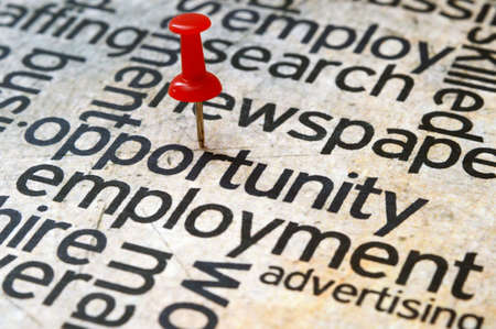 career opportunity: Push pin on opportunity text