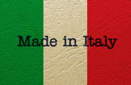bandera italiana: Made in Italy Foto de archivo