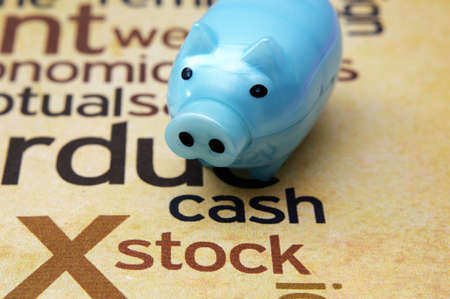 Piggy bank and stock concept photo