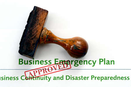 emergency plan: Business emergency plan - approved Stock Photo