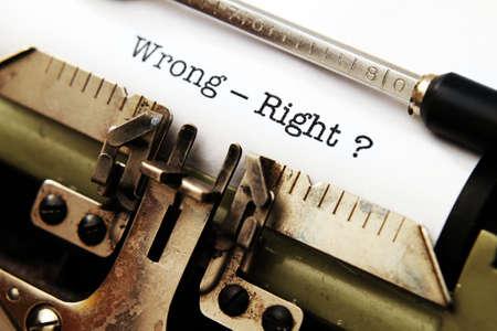 typewriter: Wrong - right