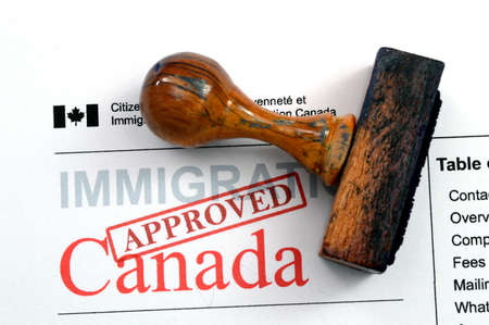 passports: Immigration Canada - approved Stock Photo
