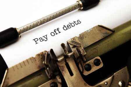 overdraft: Pay off debt Stock Photo