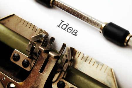 Idea text on typewriter photo