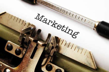 Marketing text on typewriter photo