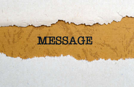 message text: Message text on torn paper