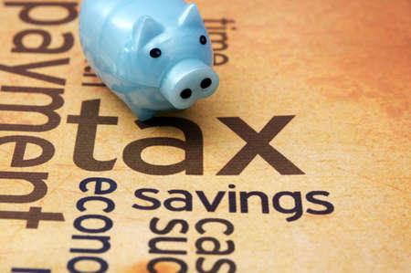 ingresos: Hucha y concepto de impuestos Foto de archivo