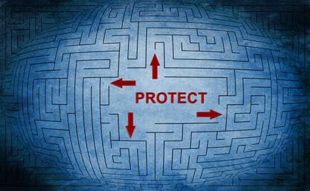 Protect maze concept photo
