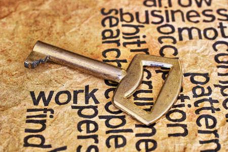 leadership key: Golden key on work text