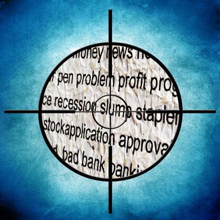 slump: Recession slump target Stock Photo