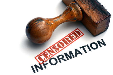 censored: Censored information stamp on white