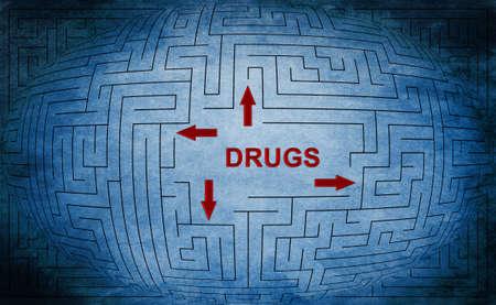 Drugs maze concept photo