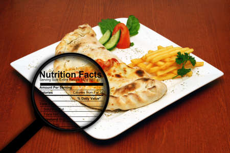 Fast food nutrition facts Stock Photo