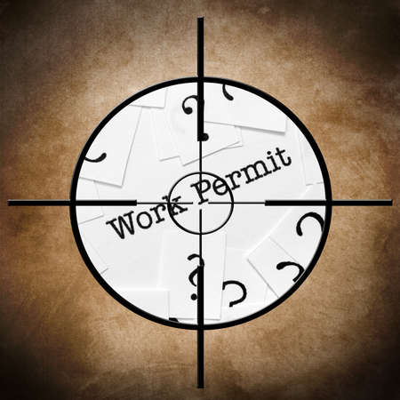 permit: Work permit target Stock Photo