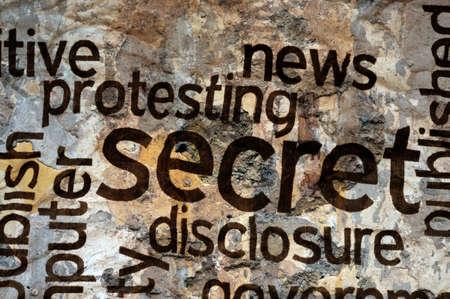 Secret text on grunge background photo