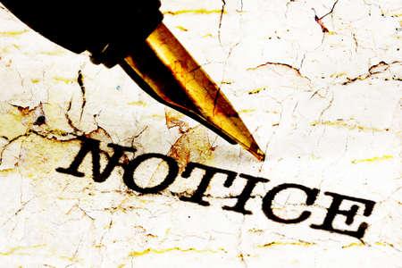 Fountain pen on notice text Stock Photo