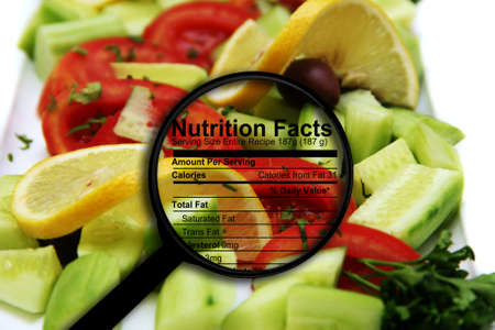 Nutrition facts on fresh salad photo