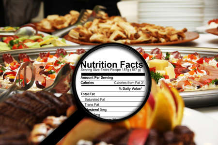 fat: Magnifying glass on nutrition facts