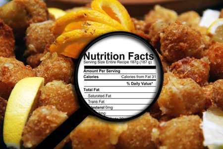 nutrition label: Magnifying glass on nutrition facts